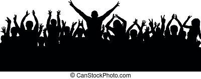 gai, applaudissements, foule, silhouette, vecteur