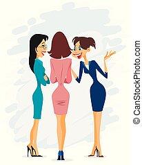 gai, bavardage, trois femmes