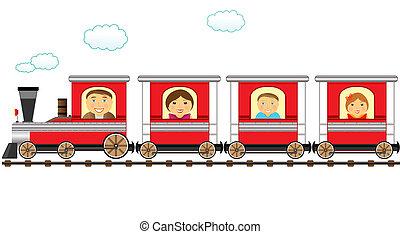 gai, catroon, train, famille