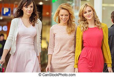 gai, centre commercial, achats, trois femmes