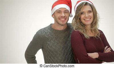 gai, chapeau, couple, rire, santa