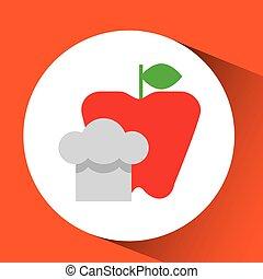 gai, chef cuistot, frais, pomme, graphique