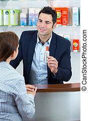 gai, client, sourire, pharmacien, chimiste