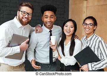gai, collègues, jeune, business