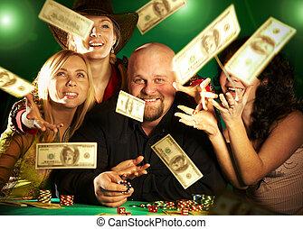 gai, compagnie, argent., prix, friends.