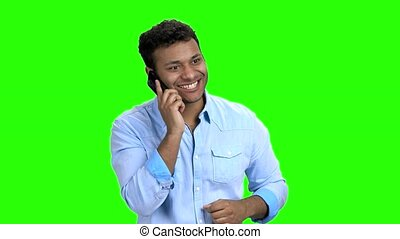gai, conversation, téléphone., mobile, jeune homme