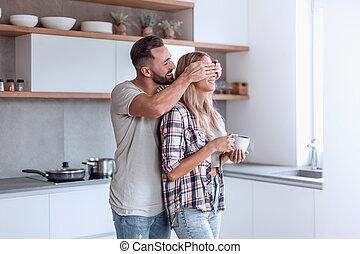 gai, couple, bon, cuisine, matin