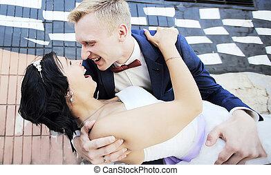 gai, couple, jeune, jour, mariage