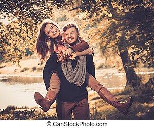 gai, couple, parc, automne, amusement, avoir