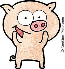 gai, dessin animé, cochon