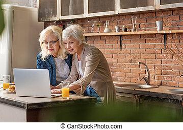gai, divertissement, ordinateur portable, femmes aînées