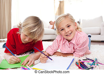 gai, enfants, dessin, mensonge, plancher