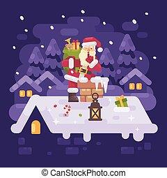 gai, entiers, hiver, plat, pourpre, claus, cheminée,...