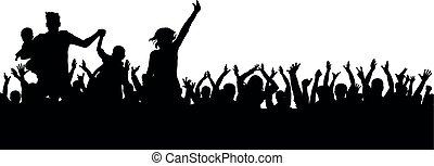 gai, foule, silhouette, bonne disposition, vecteur, fête, sport