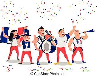 gai, francais, football, national, équipe, défenseurs, foule, fabrication bruit, avoir, célébration