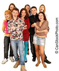 gai, gens., groupe, jeune