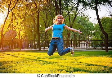 gai, girl, sauter, parc, jeune