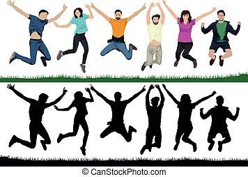 gai, groupe, gens, gens., jeune, illustration, air, jeunesse, trampolines., vecteur, jump., silhouette, jumping., amis, heureux