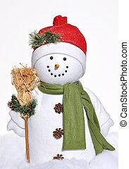 gai, hiver, bonhomme de neige