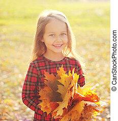 gai, jaune, avoir, automne, pousse feuilles, enfant, amusement, jour, érable