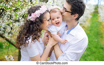 gai, leur, parents, bien-aimé, enfant, baisers