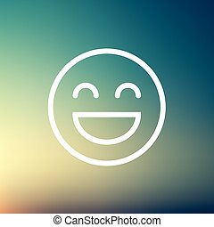 gai, ligne, emoji, mince, icône