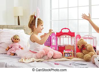 gai, maison, divertissement, enfant femelle