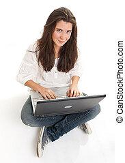 gai, ordinateur portable, brunette, jeune