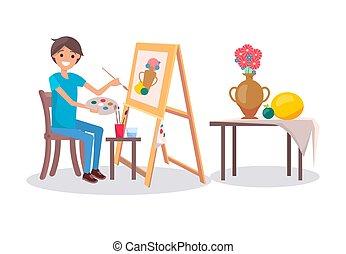 gai, peintre, au travail, vecteur, illustration