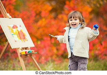 gai, peu, dessine, parc, feuilles, saut, automne, brosse, peinture, enfant, girl, peinture