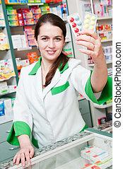 gai, pharmacien, chimiste, femme