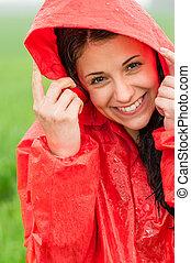 gai, portrait, adolescent, pluie