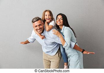 gai, portrait, famille