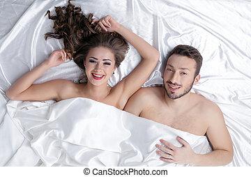 gai, pose couples, lit, hétérosexuel