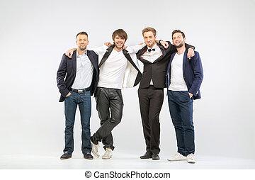 gai, quatre, mâle, groupe, amis