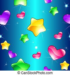 gai, seamless, modèle, à, brillant, cœurs, et, étoiles