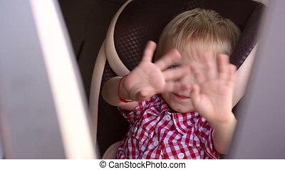 gai, sien, séance, voiture, seat., main, onduler, enfants, quoique, bébé