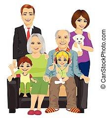 gai, sofa, maison, famille, séance