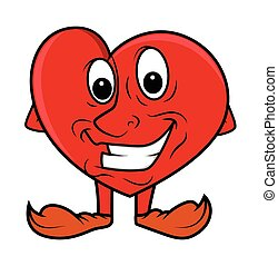 gai, sourire, -, dessin animé, coeur
