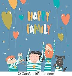 gai, sourire, faire gestes, famille, heureux