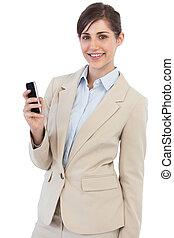 gai, téléphone, poser, femme affaires