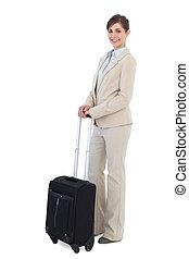 gai, valise, poser, femme affaires