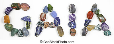 simple isolated polished crystals laid out neatly on white background to spell the word GAIA