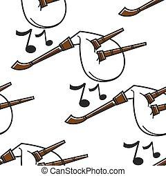 Gaida Bulgarian musical instrument seamless pattern bagpipe...