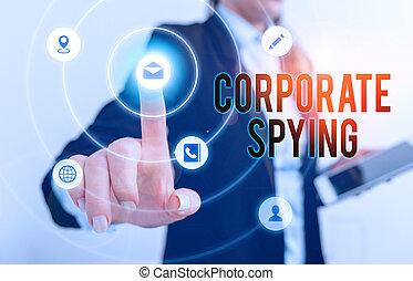 gain, business, constitué, investigation, concurrents, spying., écriture, texte, advantage., concept, signification