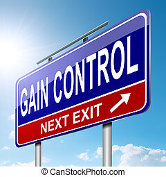 Illustration depicting a roadsign with a control concept. Sky background.