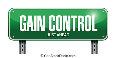 gain control road sign illustration design over a white ...
