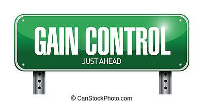 gain control road sign illustration design over a white...