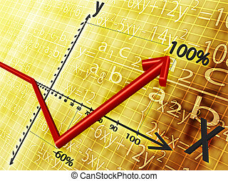 on a yellow background shows a graph and the red arrows show the rise