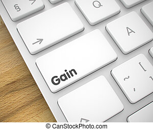 Gain - Text on White Keyboard Button. 3D.